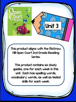 2nd Grade McGraw Hill Open Court Unit 3 Weekly Study Guides