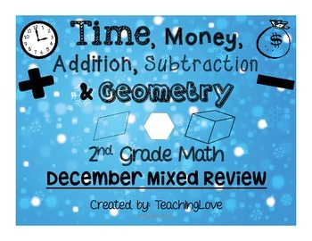 2nd Grade Mixed Review: Time, Money, Add/Subtract, Geometry