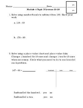 2nd Grade Module 4 Topic E Assessment