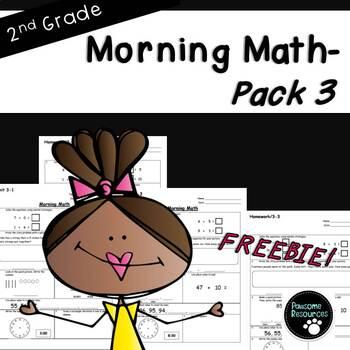 2nd Grade Morning Math (***Unit 3 FREEBIE***)
