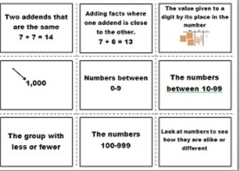2nd Grade MyMath Vocabulary Matching Cards Chapters 1-6