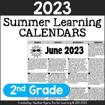 2016 2nd Grade NO PREP Summer Calendars
