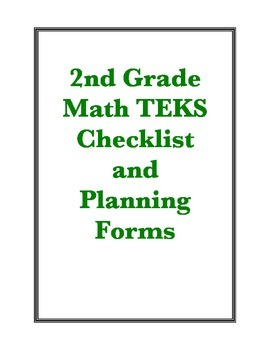 2nd Grade New Math TEKS Checklist and Planning Forms