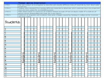 2nd Grade New Science Standards Gradebook
