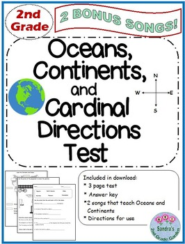 2nd Grade Oceans, Continents and Cardinal Directions Test.