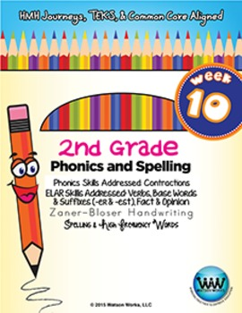 2nd Grade Phonics and Spelling Zaner-Bloser Week 10 (Contr