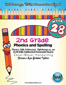 2nd Grade Phonics and Spelling Zaner-Bloser Week 28 (Dipht