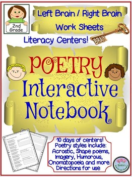 2nd Grade Poetry Interactive Notebook for Left Brain/Right