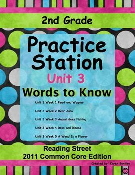 2nd Grade, Practice Station Words to Know, Unit 3, Reading