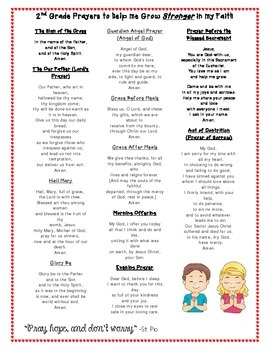 2nd Grade Prayer Guide for Parents