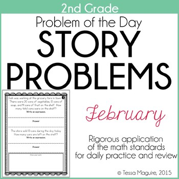 2nd Grade Problem of the Day Story Problems- February