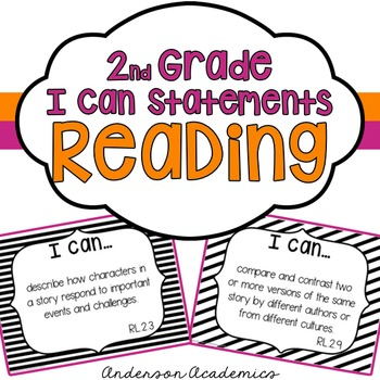 """2nd Grade """"I Can"""" Statements: Reading - Black & White"""