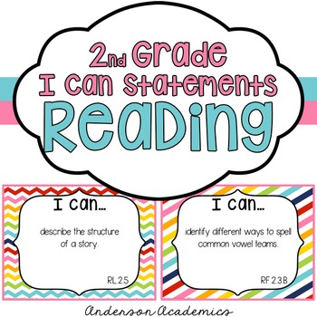 "2nd Grade ""I Can"" Statements: Reading - Rainbow"