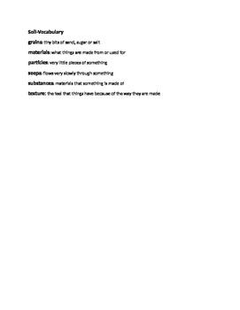 2nd Grade Reading Street Unit 4 Week 3 Soil Vocabulary list