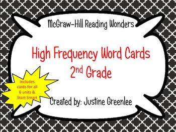 2nd Grade Reading Wonders High Frequency Cards