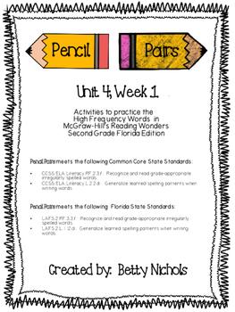 2nd Grade Reading Wonders Unit 4 Week 1 HFW Pencil Pairs