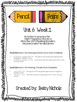 2nd Grade Reading Wonders Unit 6 Week 1 HFW Pencil Pairs