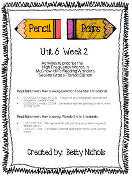 2nd Grade Reading Wonders Unit 6 Week 2 HFW Pencil Pairs
