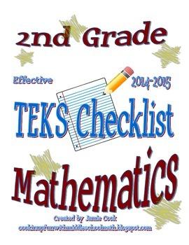 2nd Grade STAAR Math TEKS Checklist (with new TEKS effecti