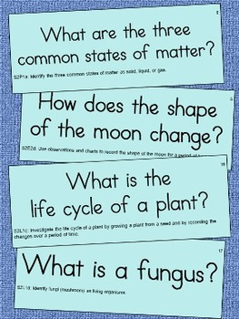 2nd Grade Science Essential Question Cards for Display - S