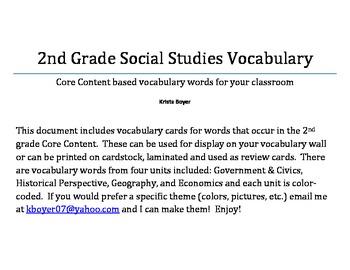 2nd Grade Social Studies Vocabulary Cards