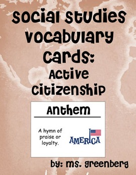 2nd Grade Social Studies Vocabulary Cards: Active Citizens