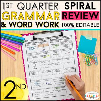 2nd Grade Language Homework 2nd Grade Morning Work 1st Qua