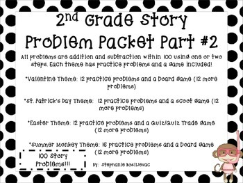 2nd Grade Story Problems Part #2  (One and Two Step, Withi