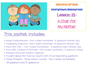 2nd Grade StoryTown - Lesson 21 Study Pack (A Chair For My