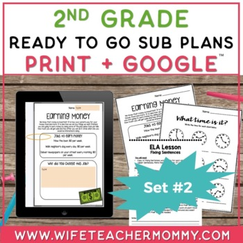 Sub Plans 2nd Grade Ready To Go for Substitute. DAY #2. No