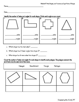 2nd Grade Time, Shapes, and Fractions as Equal Parts of Sh