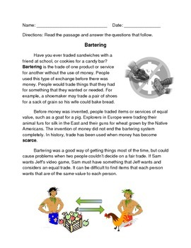2nd Grade Trade and Barter Reading Comprehension Passage a