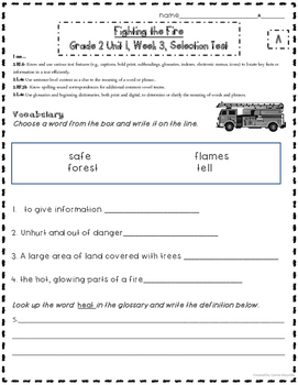 2nd Grade: Treasures: Fighting the Fire CCSS Leveled Tests