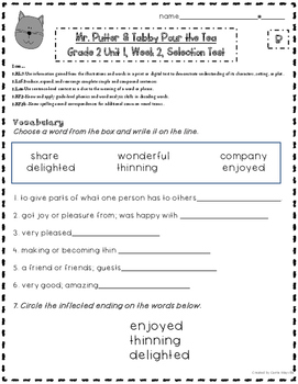 2nd Grade: Treasures: Mr. Putter & Tabby Pour the Tea CCSS