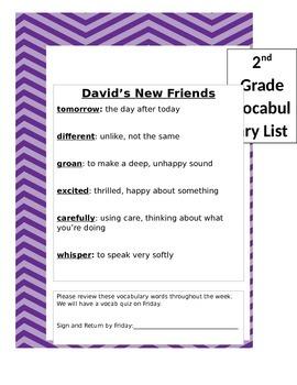 2nd Grade Treasures Vocabulary List Unit 1 (Preview distor