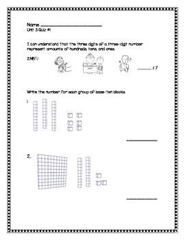 2nd Grade - Unit 3 Everyday Math - Quizzes