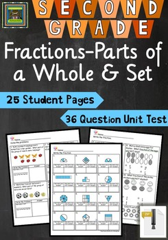 2nd Grade Unit & Test Fractions Parts of Whole & Parts of