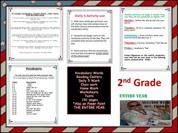 2nd Grade Vocabulary, Power Point, Center Work , HW, Test'