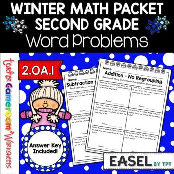 2nd Grade Winter Word Problems - 2.OA.1