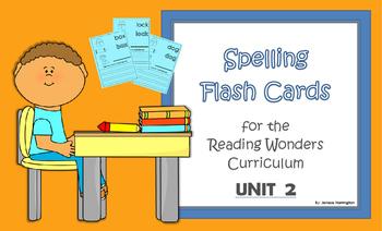 2nd Grade Reading Wonders Spelling Flash Cards - UNIT 2