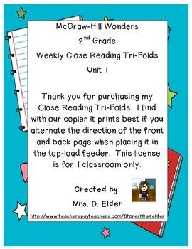 2nd Grade Wonders Unit 1 Close Reading Tri-Folds