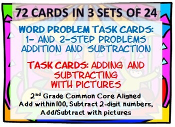 2nd Grade Word Problems Task Card/Scoot Activity: 3 Sets;