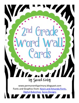 2nd Grade Word Wall Cards - Zebra