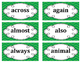2nd Grade Word Wall Word Set Green