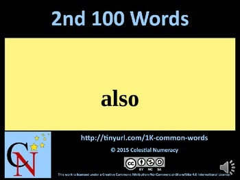 2nd Hundred Words with Audio - 1,000 Word Fluency Program (Free)