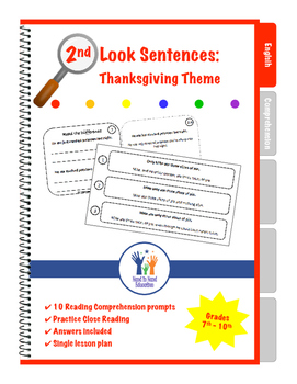 2nd Look Sentences Thanksgiving Theme