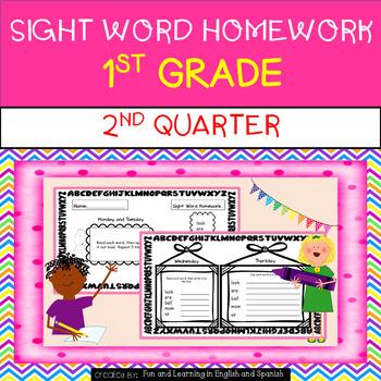 2nd Quarter - Sight Word Homework - 1st Grade