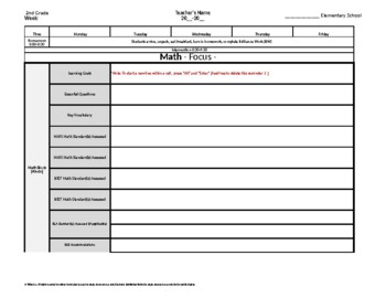 2nd Second Grade Weekly Lesson Plan Template w Florida Sta