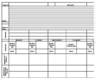 2nd grad math Lesson plan template