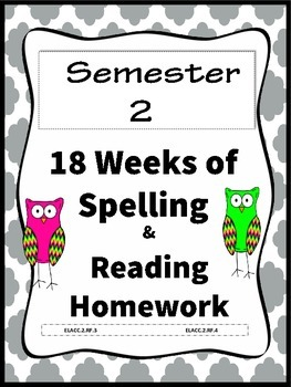 2nd grade Common Core Spelling List Homework and Reading P